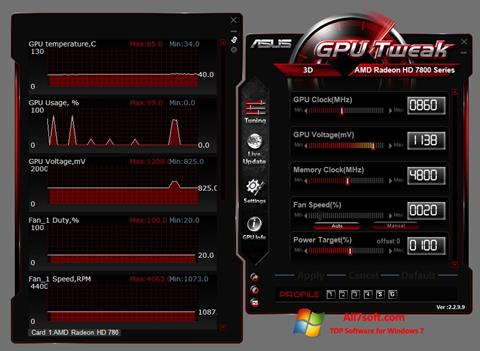 Снимка на екрана ASUS GPU Tweak за Windows 7