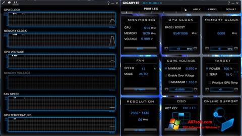 Снимка на екрана GIGABYTE OC Guru за Windows 7
