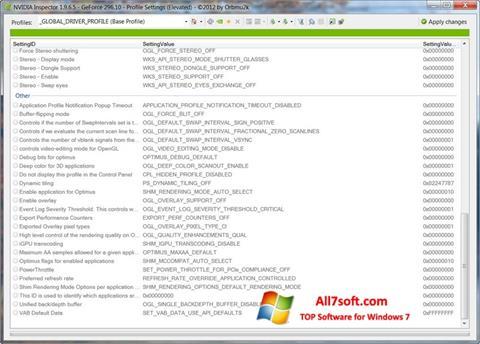 Снимка на екрана NVIDIA Inspector за Windows 7