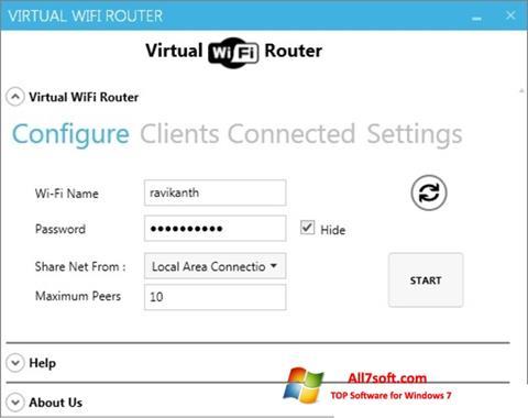 Снимка на екрана Virtual WiFi Router за Windows 7