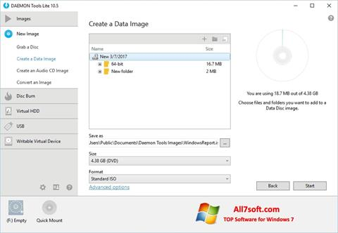 Снимка на екрана DAEMON Tools Lite за Windows 7