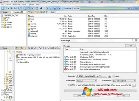 Снимка на екрана UltraISO за Windows 7