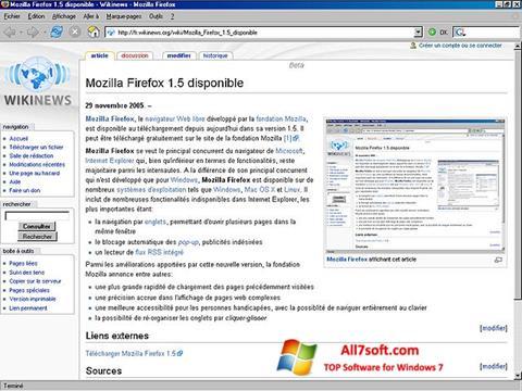 Снимка на екрана Mozilla Firefox за Windows 7