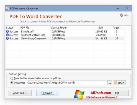 Снимка на екрана PDF to Word Converter за Windows 7