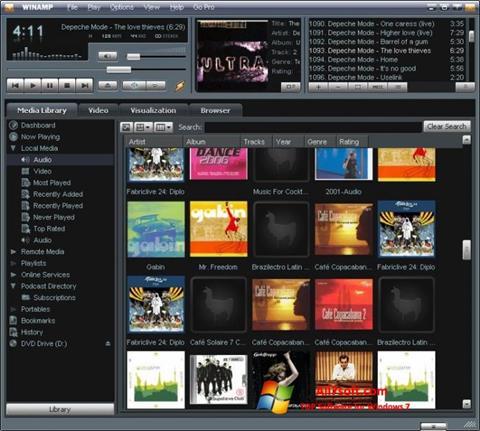 Снимка на екрана Winamp за Windows 7