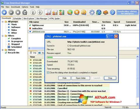 Снимка на екрана Download Master за Windows 7
