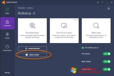 Снимка на екрана Avast за Windows 7