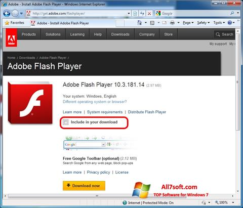 Снимка на екрана Adobe Flash Player за Windows 7