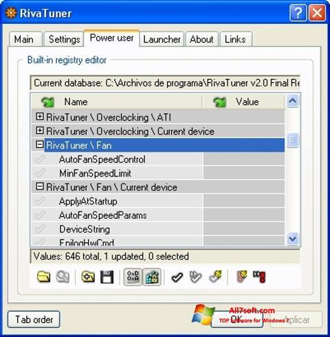 Снимка на екрана RivaTuner за Windows 7