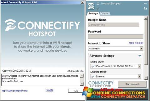 Снимка на екрана Connectify за Windows 7
