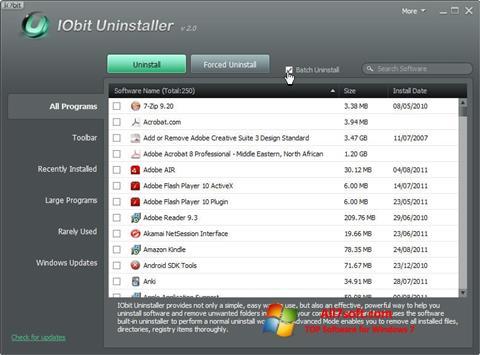 Снимка на екрана IObit Uninstaller за Windows 7