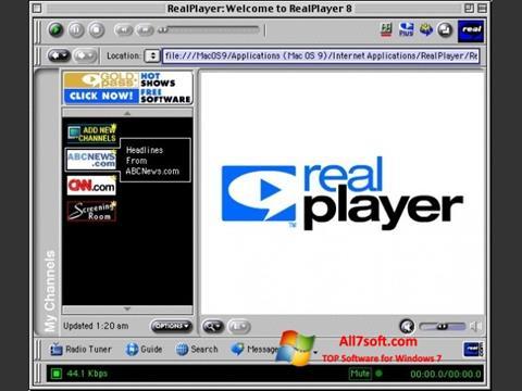 Снимка на екрана RealPlayer за Windows 7