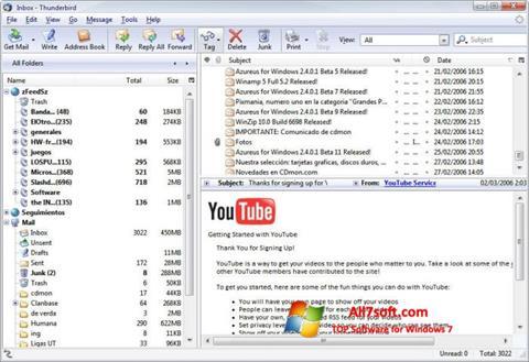 Снимка на екрана Mozilla Thunderbird за Windows 7