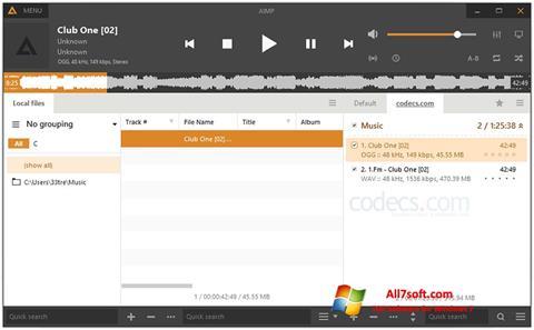 Снимка на екрана AIMP за Windows 7