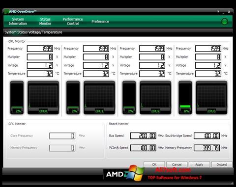 Снимка на екрана AMD Overdrive за Windows 7