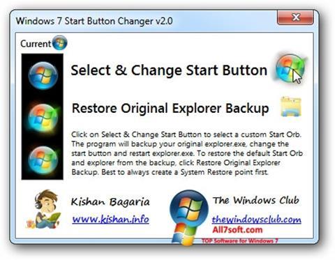 Снимка на екрана Windows 7 Start Button Changer за Windows 7